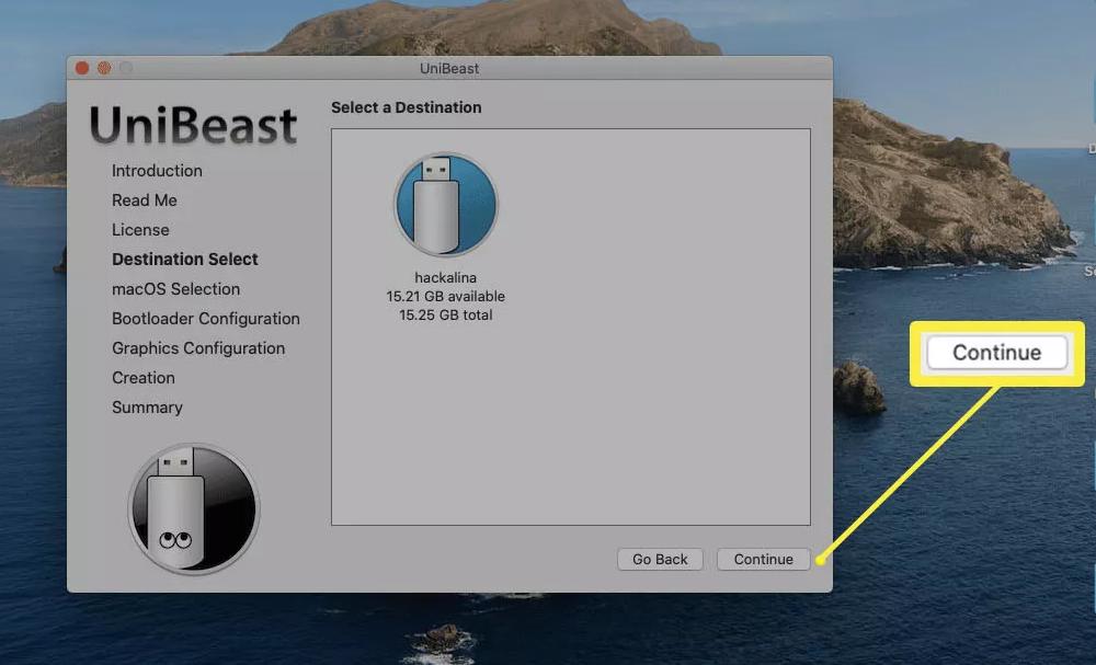 Bấm vàoổ USBmà bạn đã thiết lập trước đó, sau đó bấm Continue