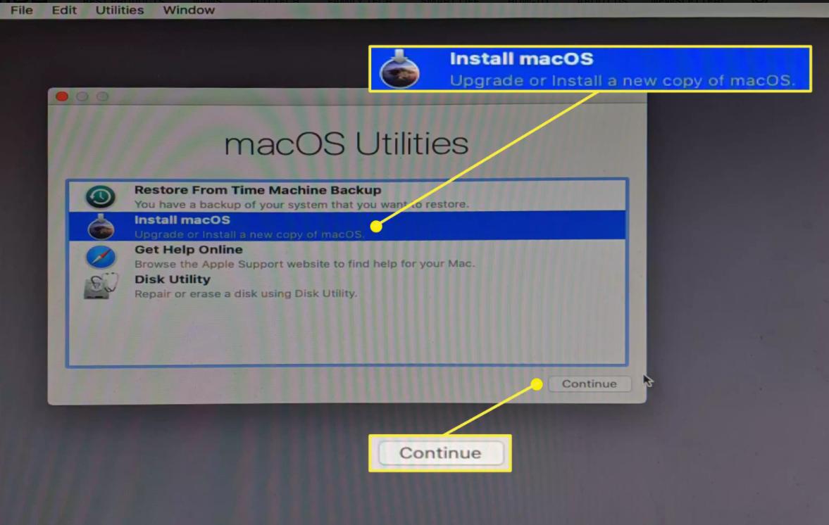 Quay lại menu Tiện ích macOS chính, chọnCài đặt macOSvà nhấp vào Continue.