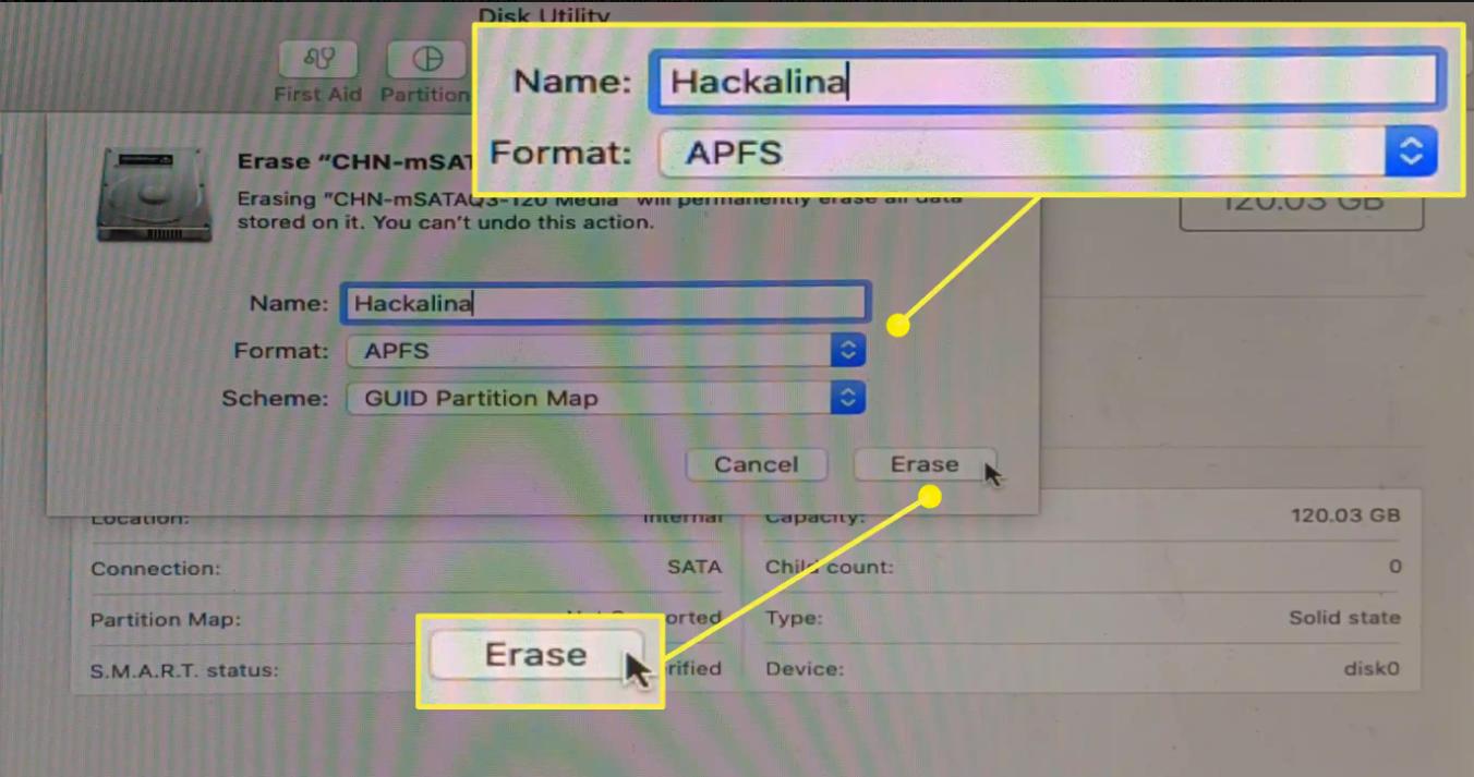 Nhập tên mới cho ổ đĩa, chọnAPFScho định dạng và nhấp vàoXóa