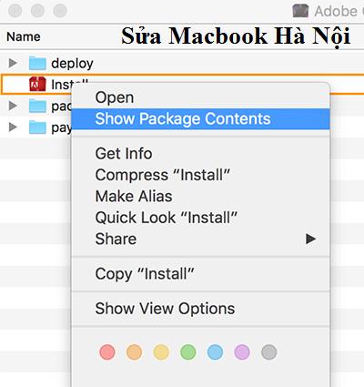 Mở file DMG (File cài) sau đó Click chuột phải vào file Install chọn Show Package Content