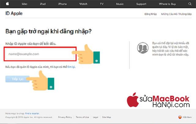 Cách 1 khắc phục macbook bị khóa icloud
