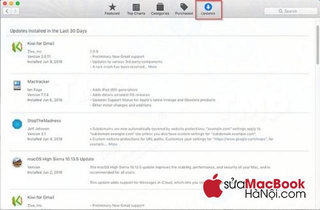 Cập nhật phần mềm để sửa lỗi macbook không mở được ứng dụng (safari, file word, rar, camera).