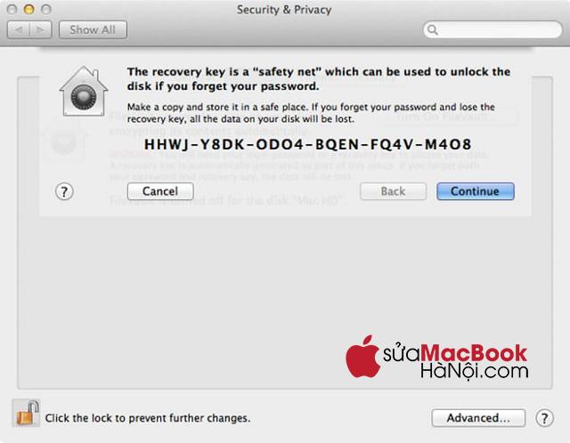 Mã dự phòng của FileVault giúp giải mã file lưu trong macbook để truy cập vào máy