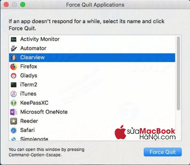 Tìm kiếm ứng dụng và chọn lệnh Force Quit để thoát.